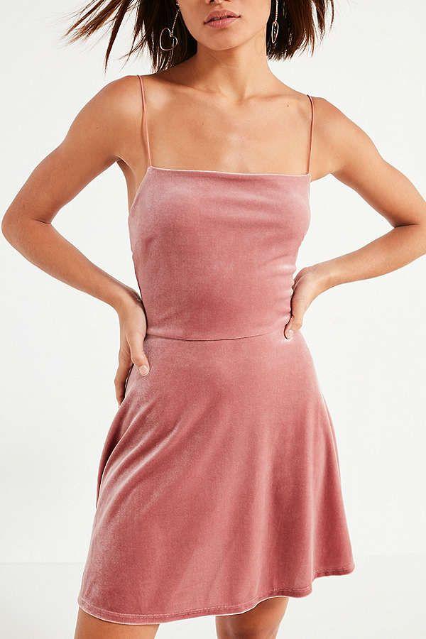 171794c90d UO Velvet Straight-Neck Mini Dress