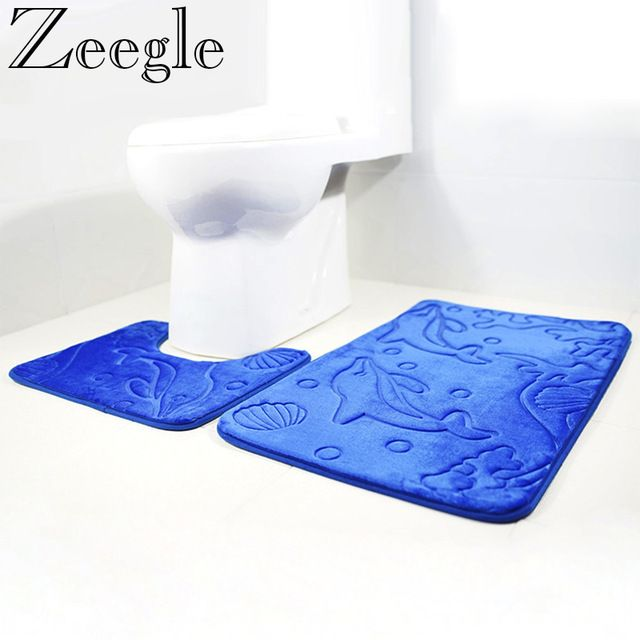 Zeegle Dolphin Embossed 2pcs Bath Mat Set Flannel Bathroom Carpets Set Anti-slip Toilet Rugs
