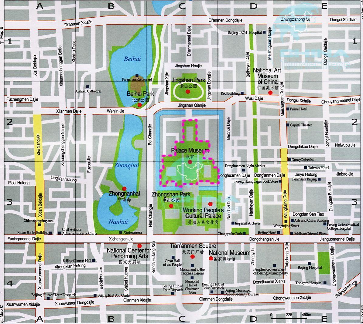 Lonely Planet Beijing Subway Map.Tourist Map Of Beijing City Center Forbidden City Tiananmen