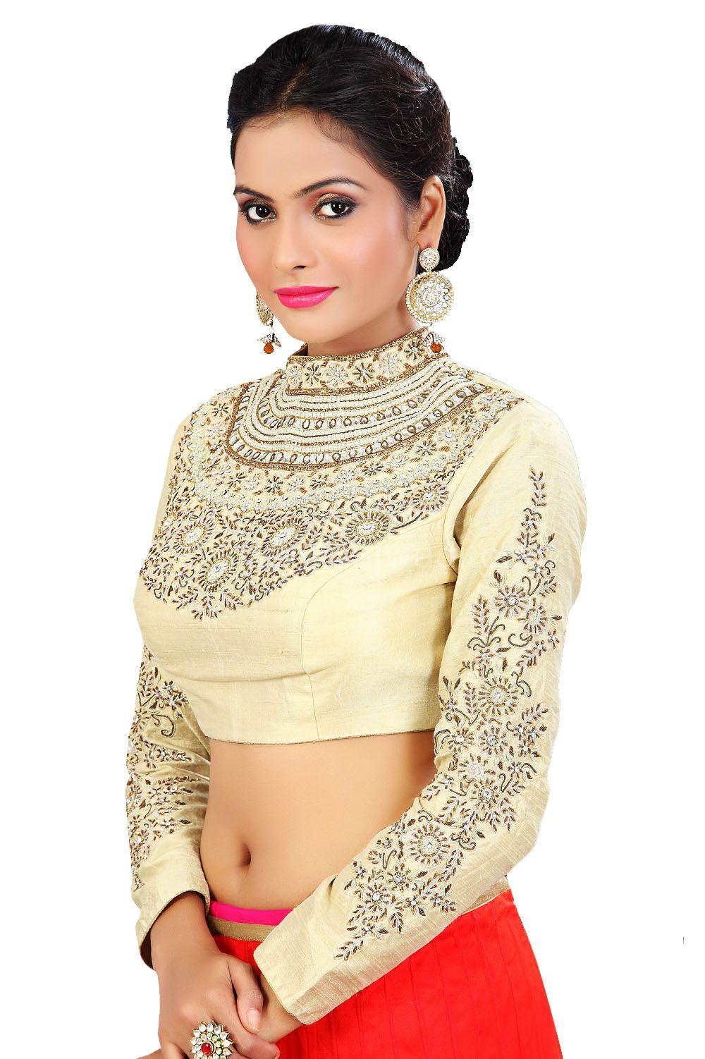3fbec4c5a9960e Winsome Cream Coloured Ready Made Choli | Saree blouse patterns ...