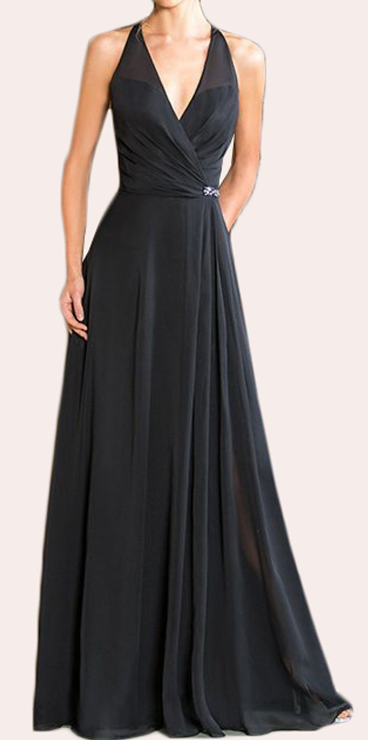 Halter v neck chiffon long bridesmaid dress black formal gown