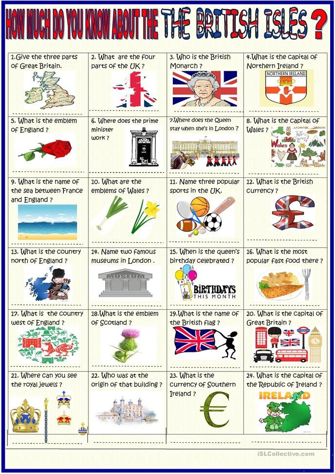 British Isles 36 question quiz with KEY (With images