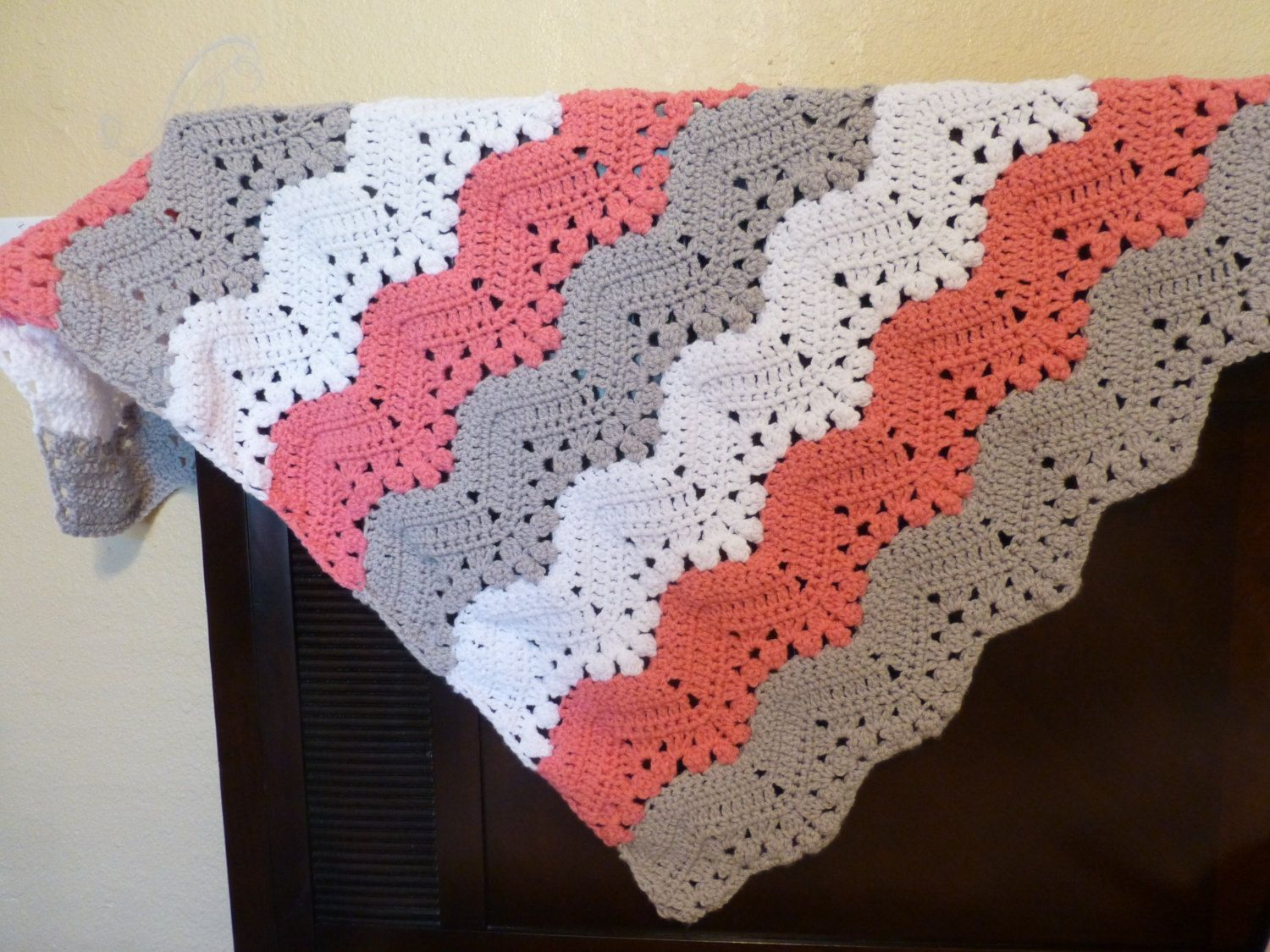 Hand Crocheted Lacy Baby Blanket by MayerMakesWithLove on Etsy