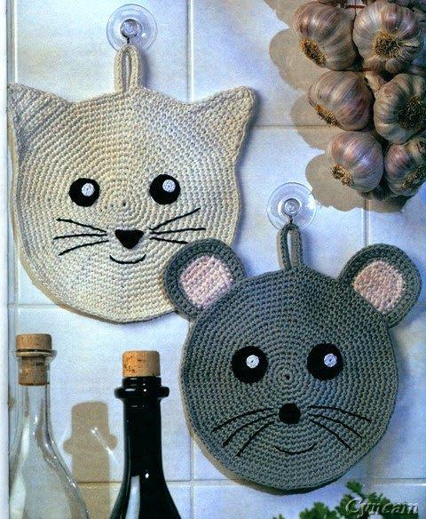 Melissa Melina Crochet: Superbes maniques pour la cuisine au crochet, colorées,…