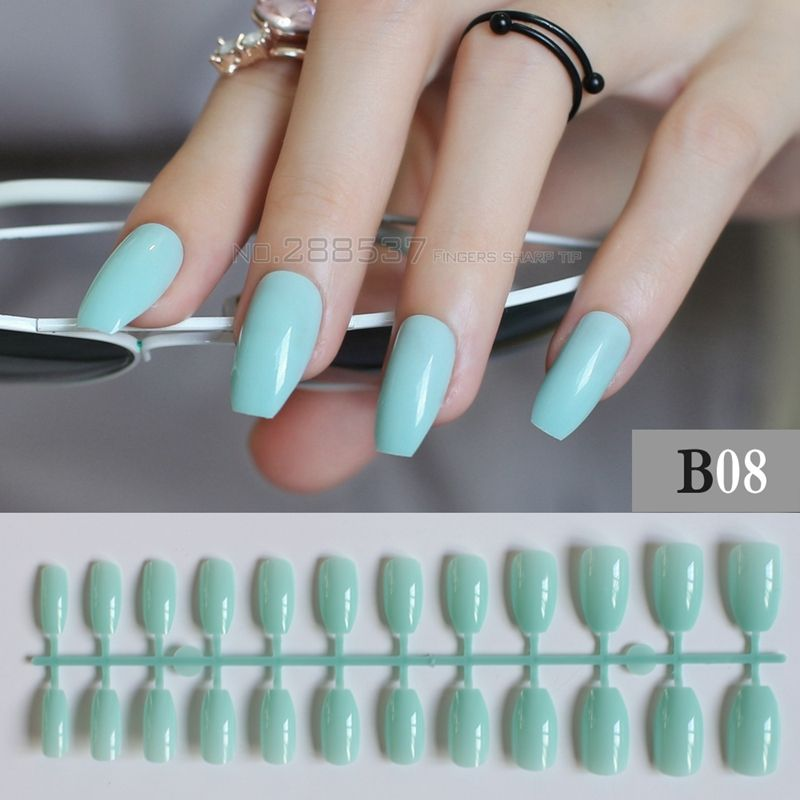 New coffin nails tips False nails sky blue personality Designs 24pcs ...