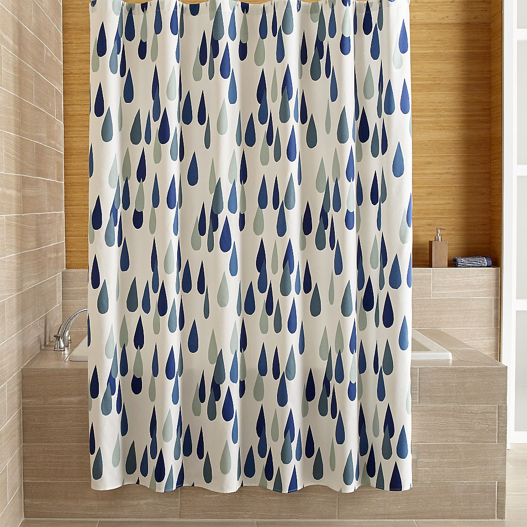 Shop Marimekko Iso Pisaroi Shower Curtain Oversized Raindrops In Finnish Rain Beautiful Shades Of Green And Blue On White Maija Louekaris