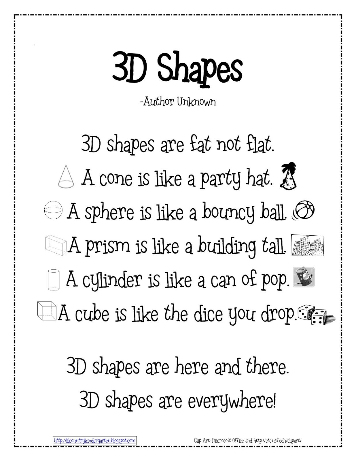Lil Country Kindergarten 3d Shapes Poem Freebie You