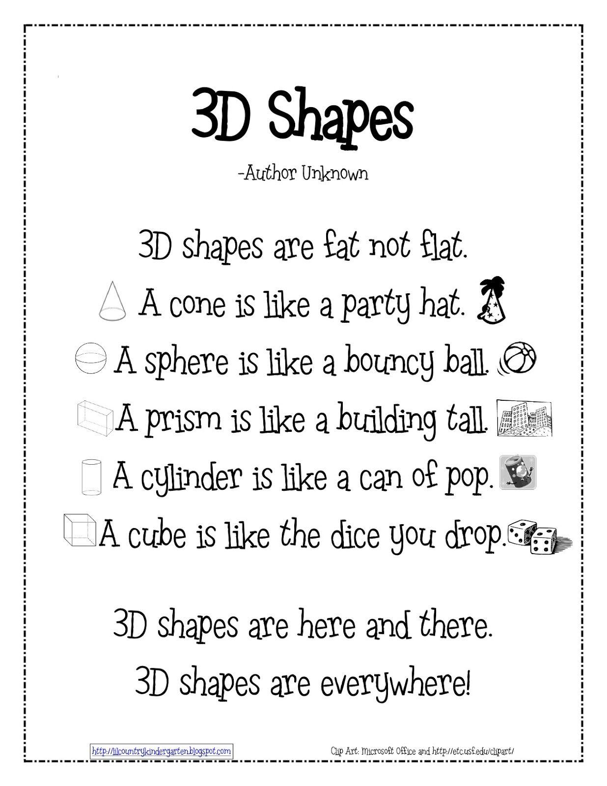 Lil Country Kindergarten 3d Shapes Poem Freebie You