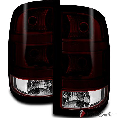 2007 2013 Sierra Fleetside Replacement Smoked Red Smoke Tinted Tail Lights Pair L R 2008 2009 2010 2011 2012 Smoked Red Clear Red Smoke Tail Light Lights