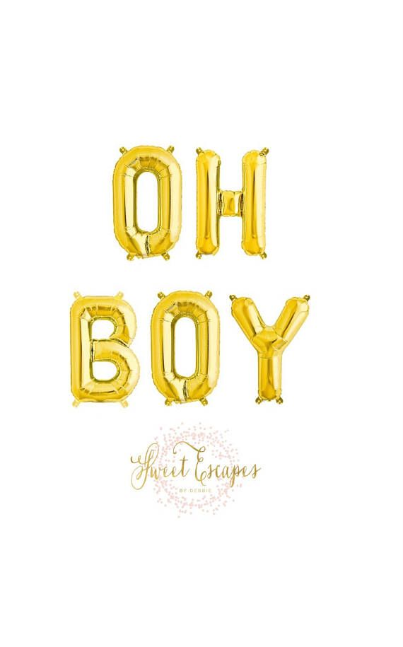 Oh Boy Gold Letter Balloons  Baby Shower Balloons Oh Baby  Baby