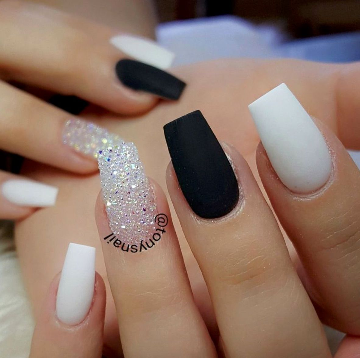 Matte Black Sparkles And White Cute Acrylic Nails Trendy Nails Gel Nails