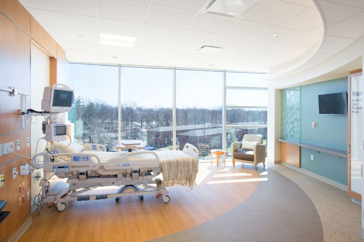 Patient Room At Clara Maass Medical Center Icu Mob Addition For Rwjbarnabas Health Located In Belleville New Jersey Healthcare Design Medical Center Room