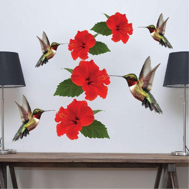 Hummingbirds Decal Mural Adhesives Animal wall decals
