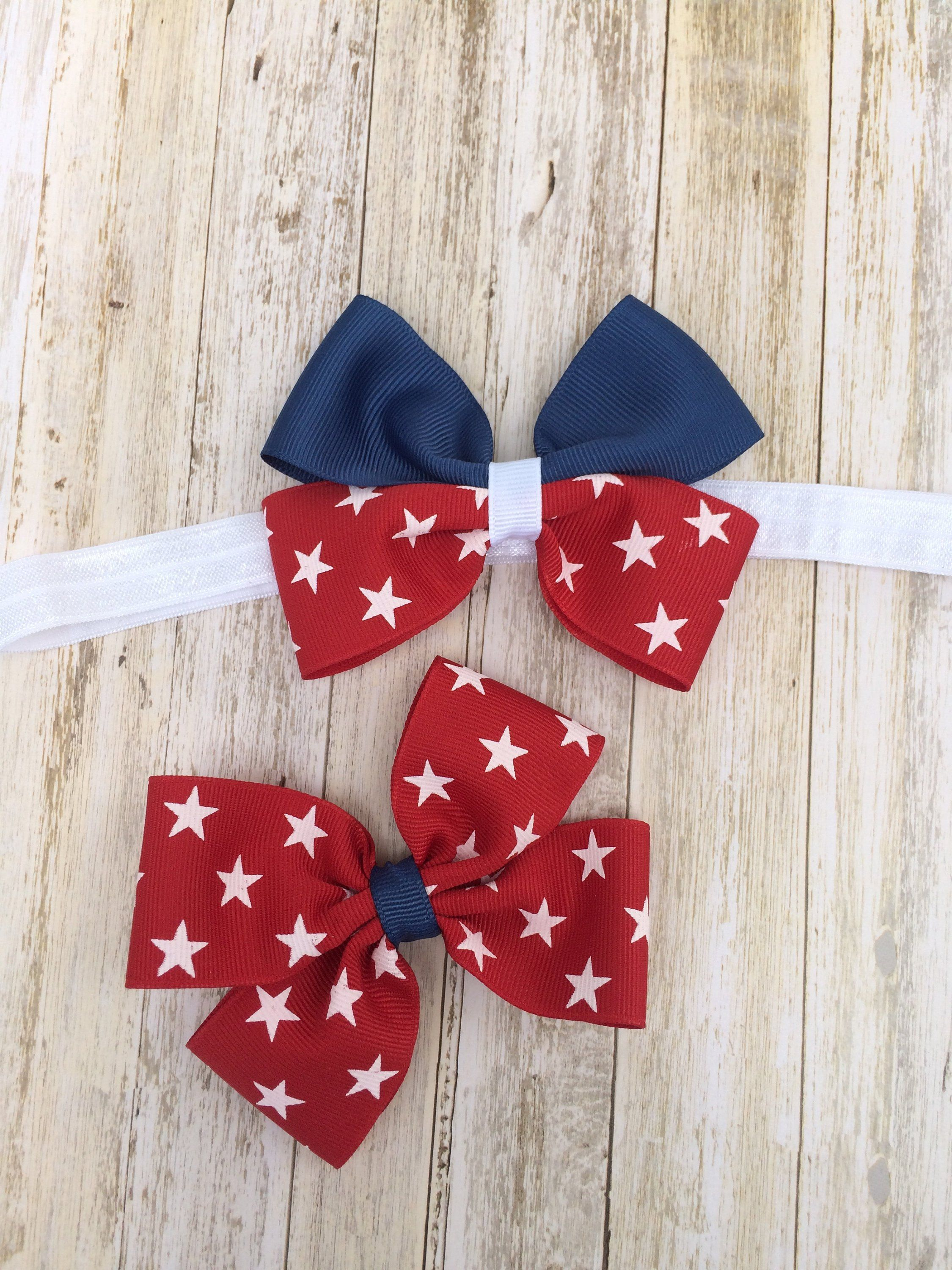 Th of July boutique bow Red white blue baby girl headband