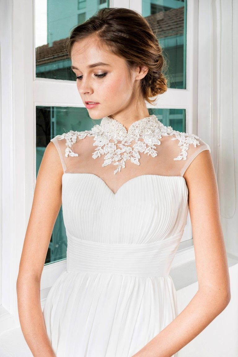 Pearl Beaded Lace Cheongsam Collar Gown | E&H | Pinterest | Beaded ...