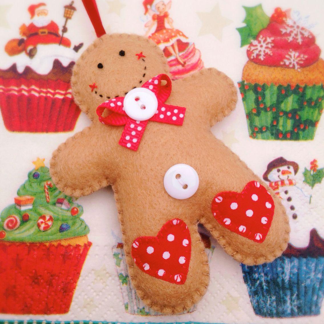 Felt Gingerbread Man Christmas Ornament