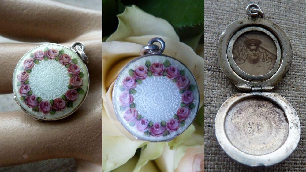 SOHH/ Antik Ketten Anhänger Medaillon Transluzides Email 800 Silber Schmuck Rose