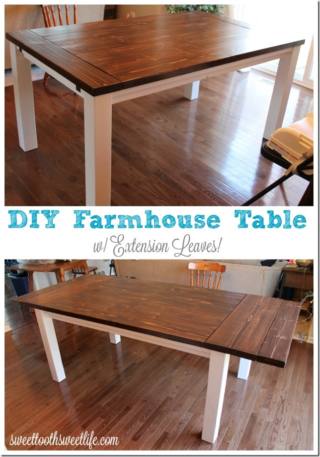 DIY Farmhouse Table with Extension Leaves (with Plans