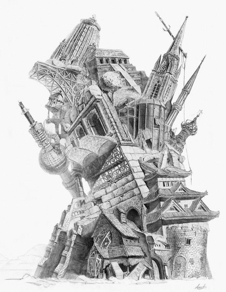 Turm aus unterschiedlichen architekturmotiven architecture for Architektur studieren info