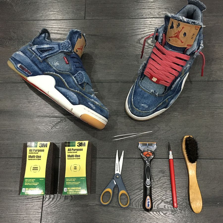 wholesale dealer 2763e e6582 Levis x Air Jordan 4 Retro Distressed Denim (jeans déchiré) (1)