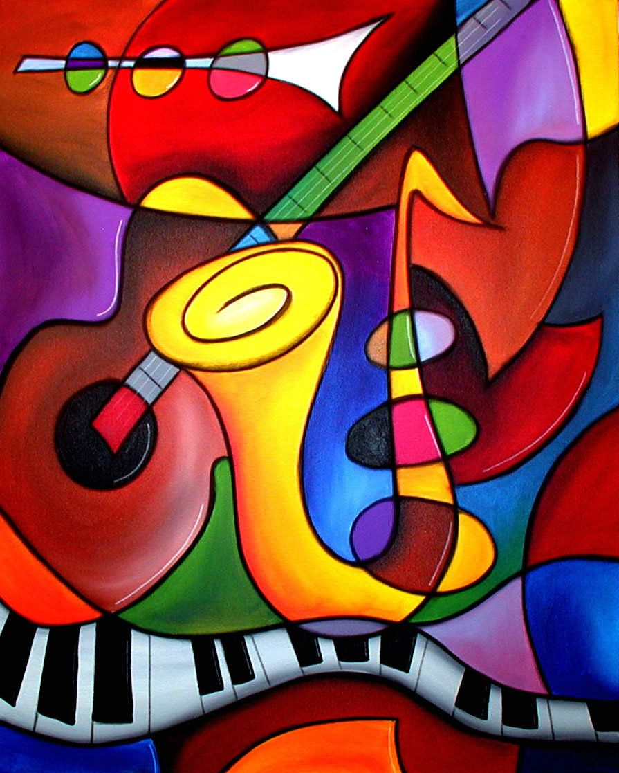 Abstract Modern pop Art original Jazz Blues Sax Wine