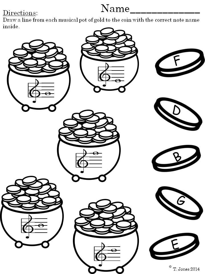 Music Worksheets March Music Note Reading Fun Treble