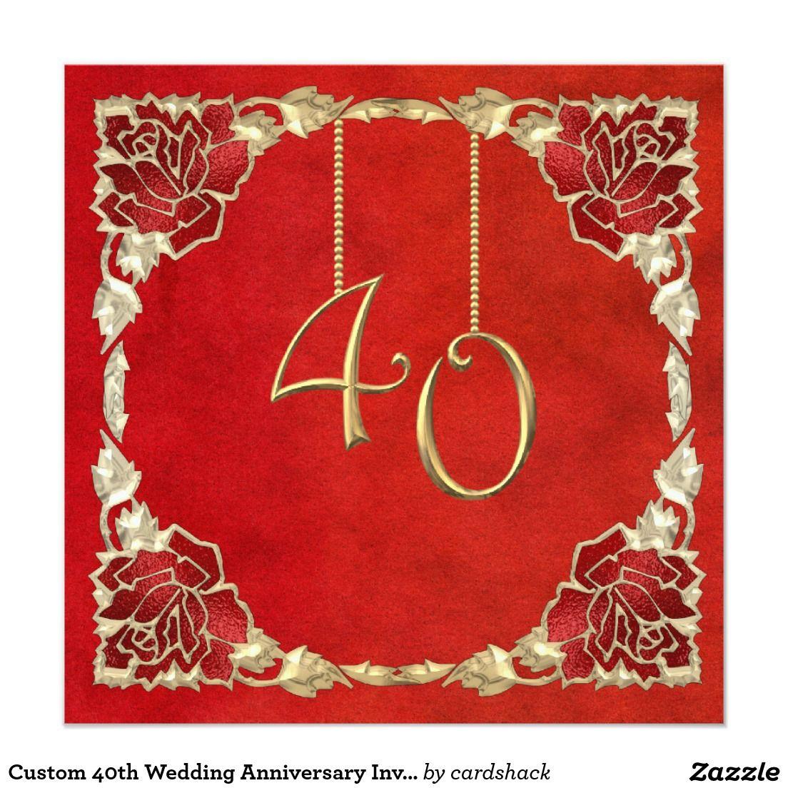 Personalizado 40º Aniversario Boda Invitaciones Zazzle Com