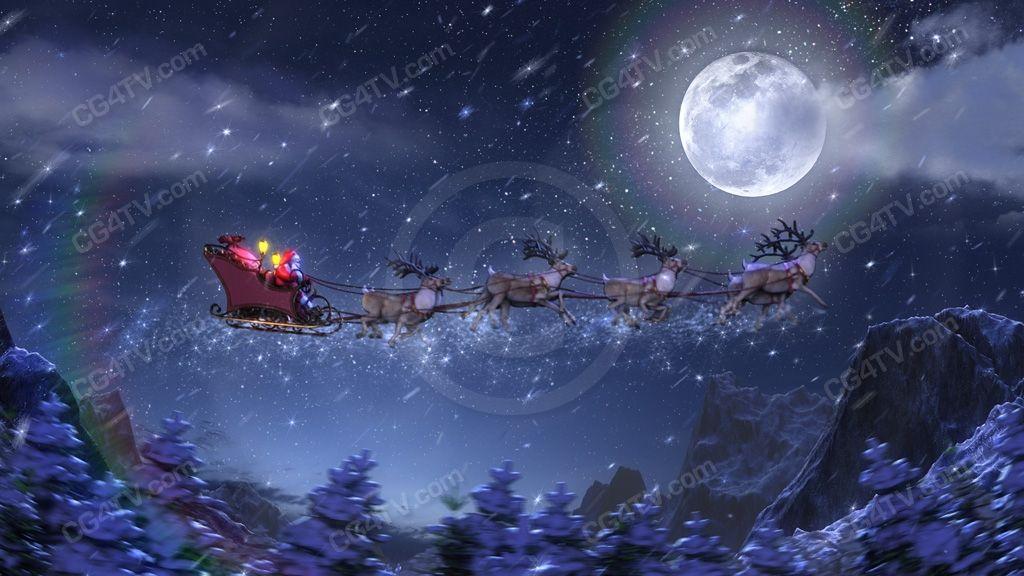 Christmas Animated Background Santa Rockets Along In His Magical Sled Animated Christmas Animated Christmas Wallpaper Christmas Background Christmas theme moving wallpaper