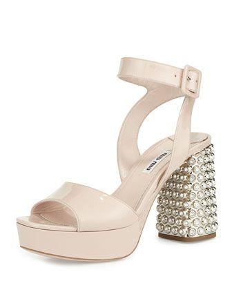 120801e92ed0 Patent Jewel-Heel Platform Sandal