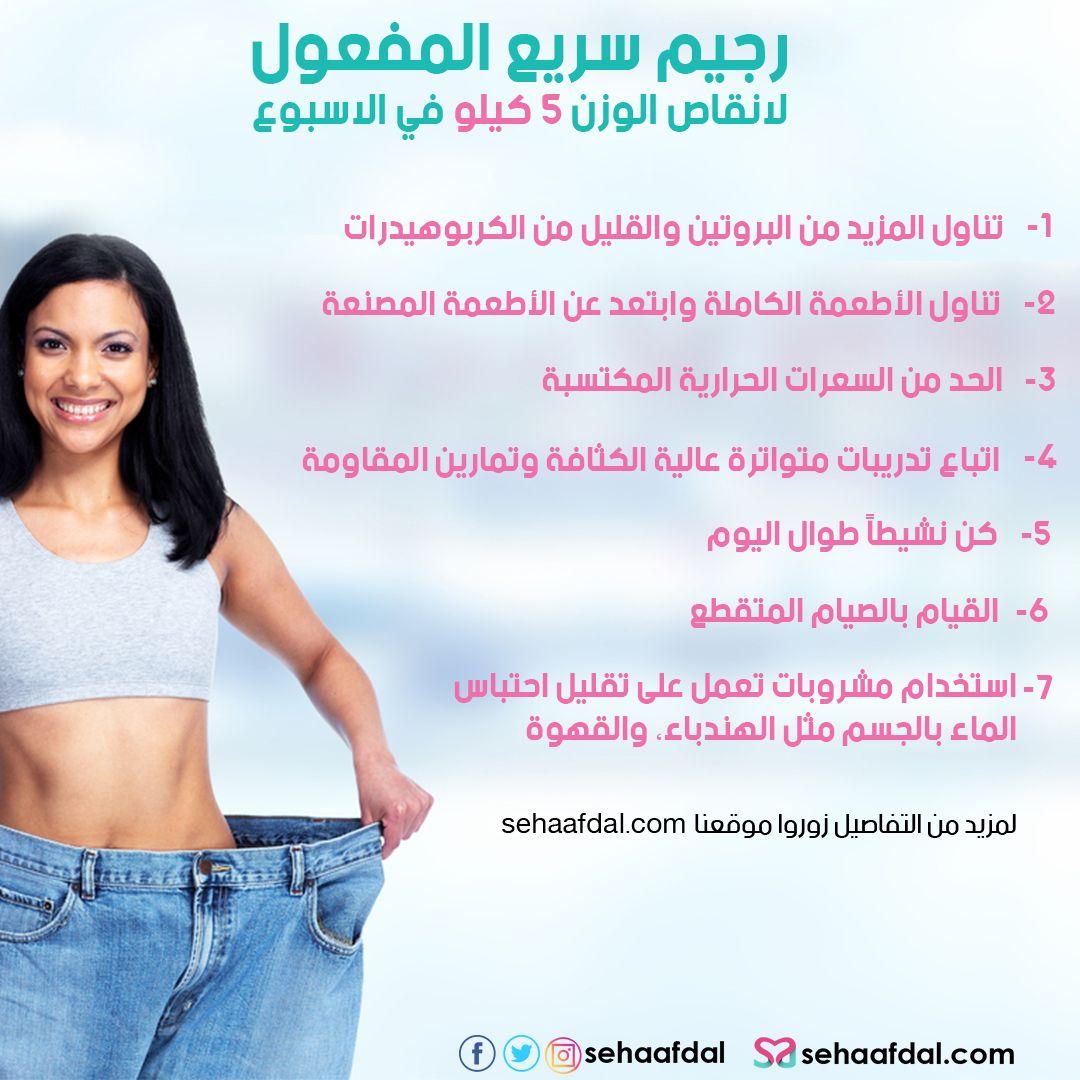 رجيم سريع المفعول لانقاص الوزن 5 كيلو في الاسبوع بشكل صحي Health And Fitness Magazine Health Fitness Nutrition Health And Fitness Expo