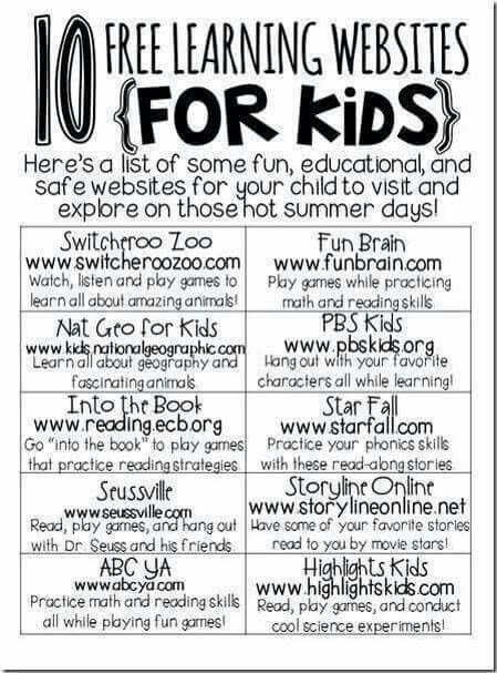 kindergarten free websites