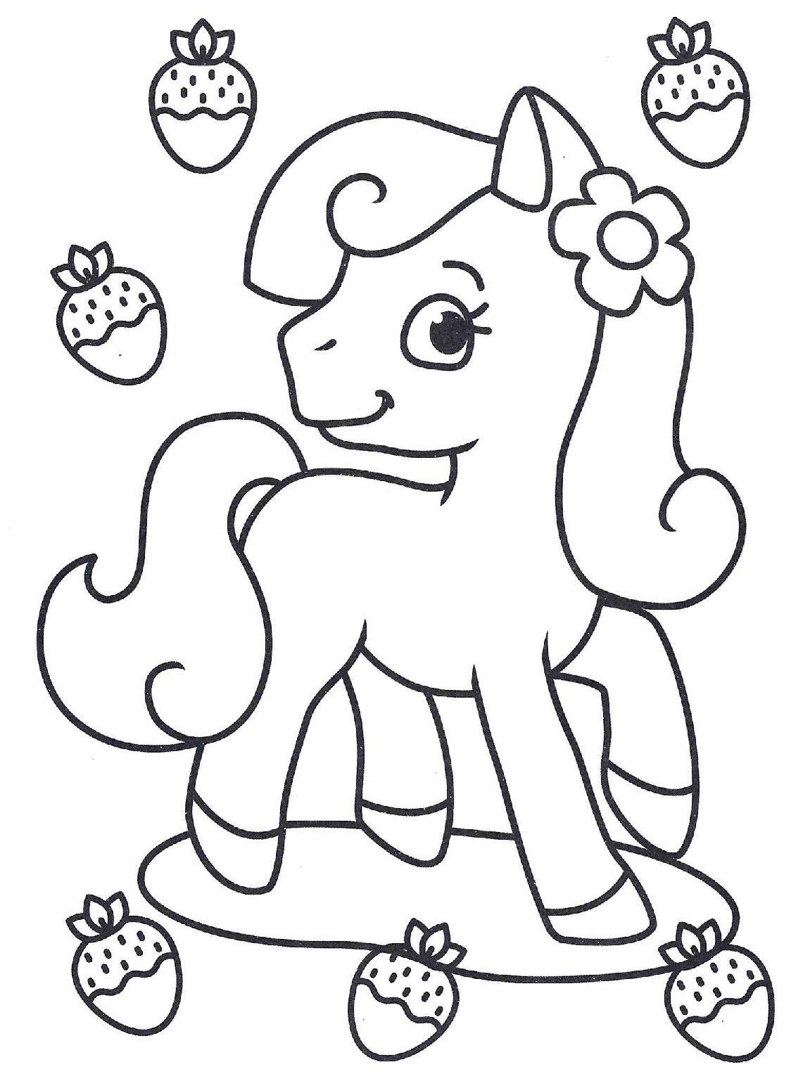 Раскраски «Для девочек» - «Пони и клубника»