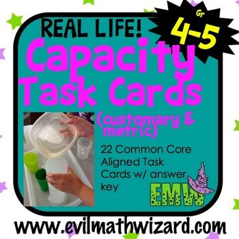 $3 Real Life Capacity/Liquid Volume Task Cards (Customary and Metric ...