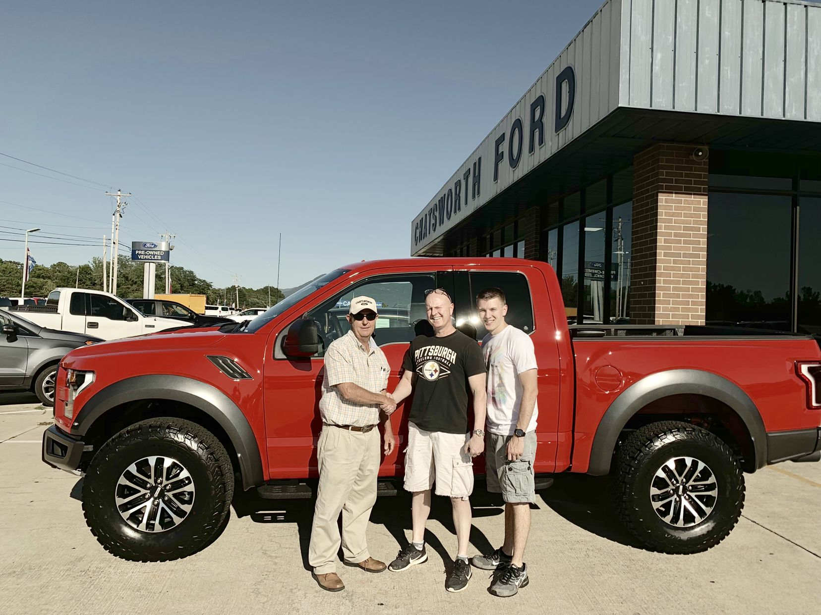 congratulations robert bristol of jasper ga accompanied by his son on your brand new 2019 raptor sold by brian smith we know y ford news used cars car ford pinterest