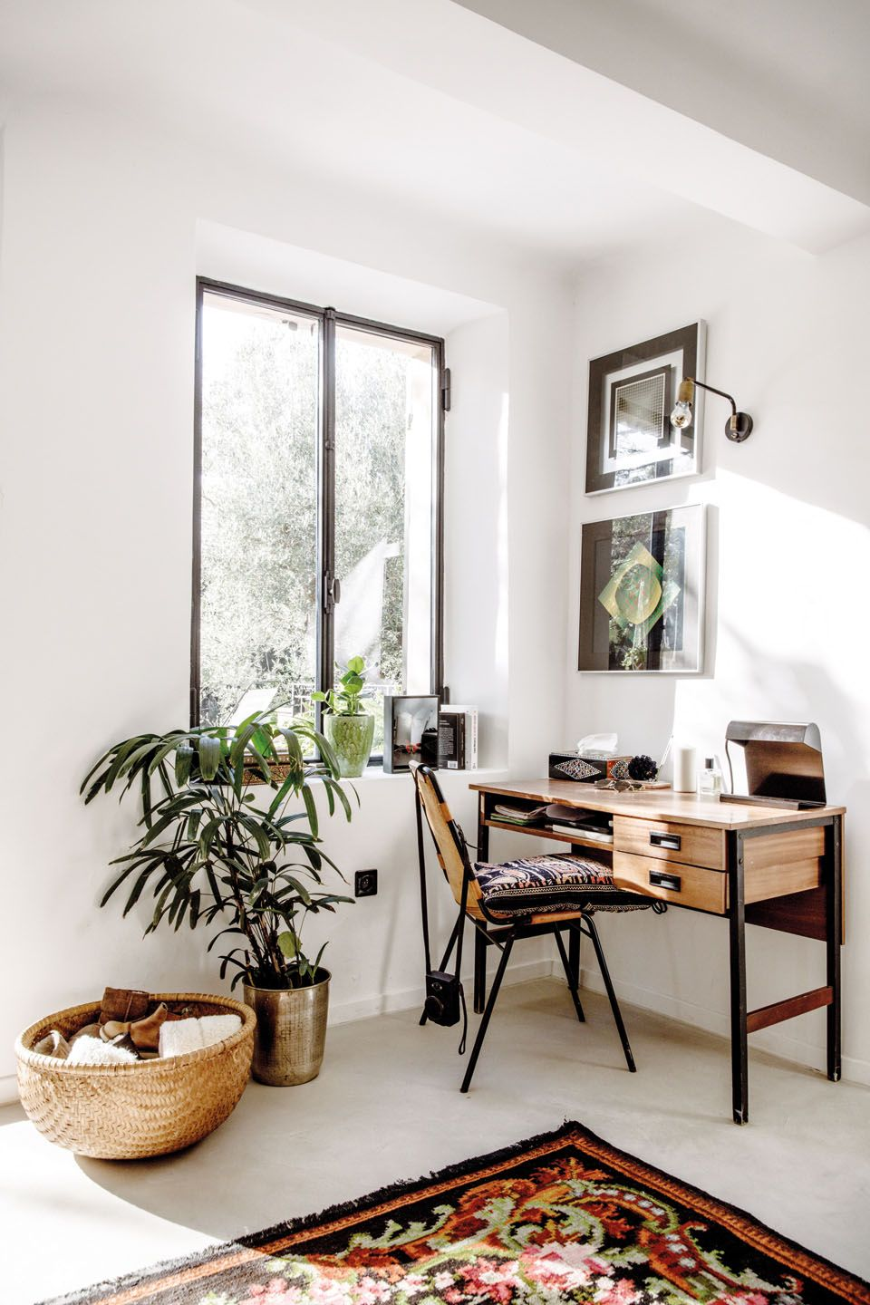 Small light filled workspace. Looking for art photo prints to ...