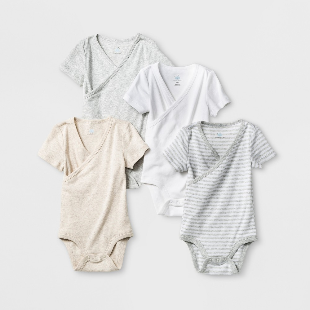 Baby 4pk Short Sleeve Kimono Bodysuit Gray White Target Baby Clothes Grey Bodysuit Cloud Island