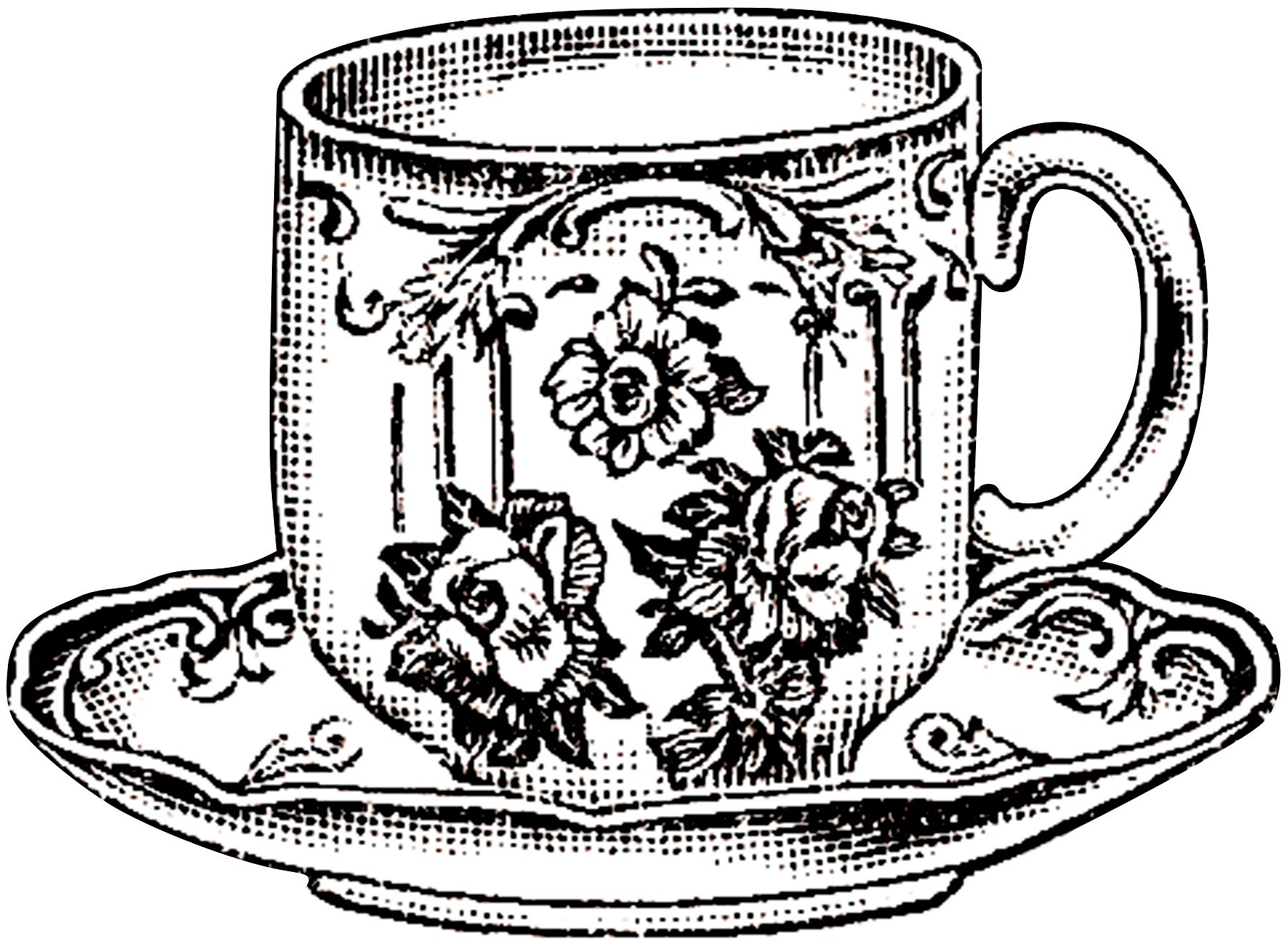 10 Black And White Teacup Clip Art Images