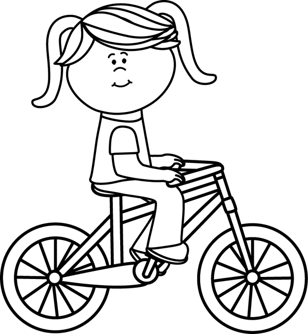 Girl Riding A Bicycle Coloring Pages Clip Art Bicycle Pictures
