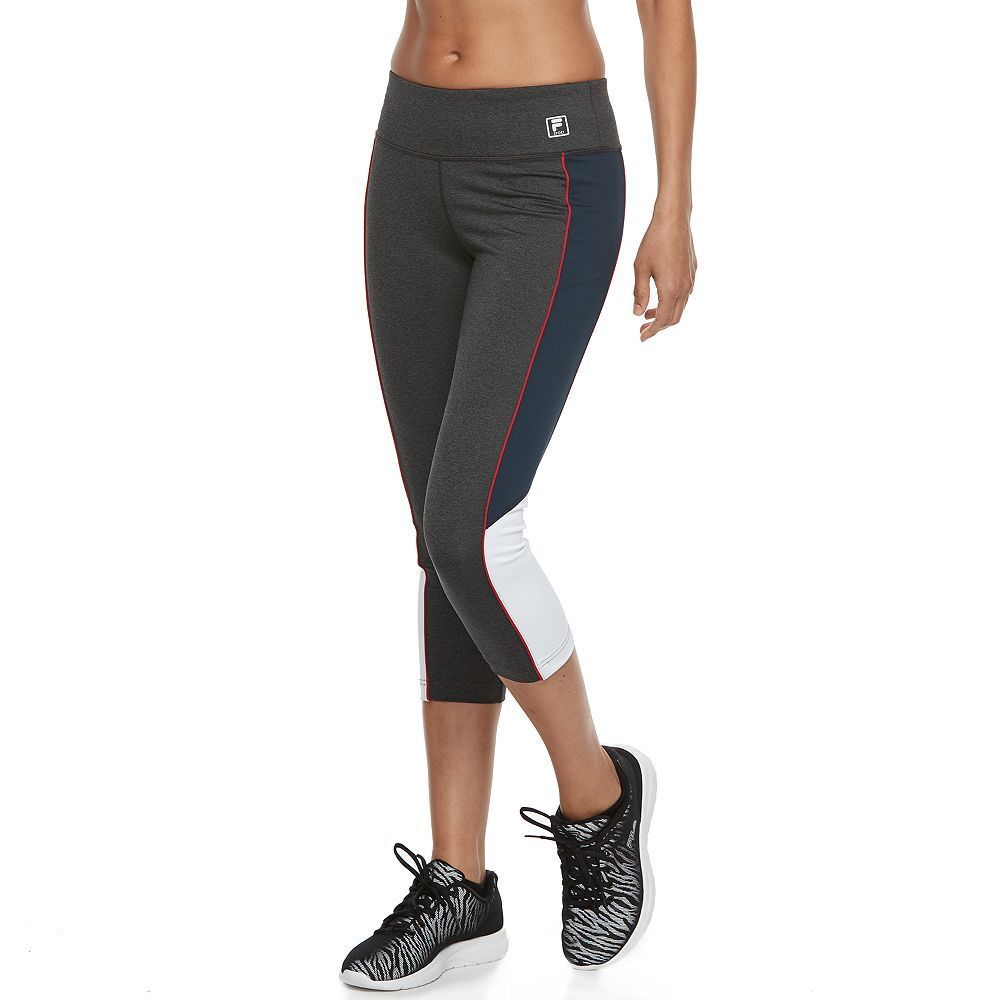 Women's FILA Sport® Color Block Running Capri Leggings, Size: Small, Light Grey
