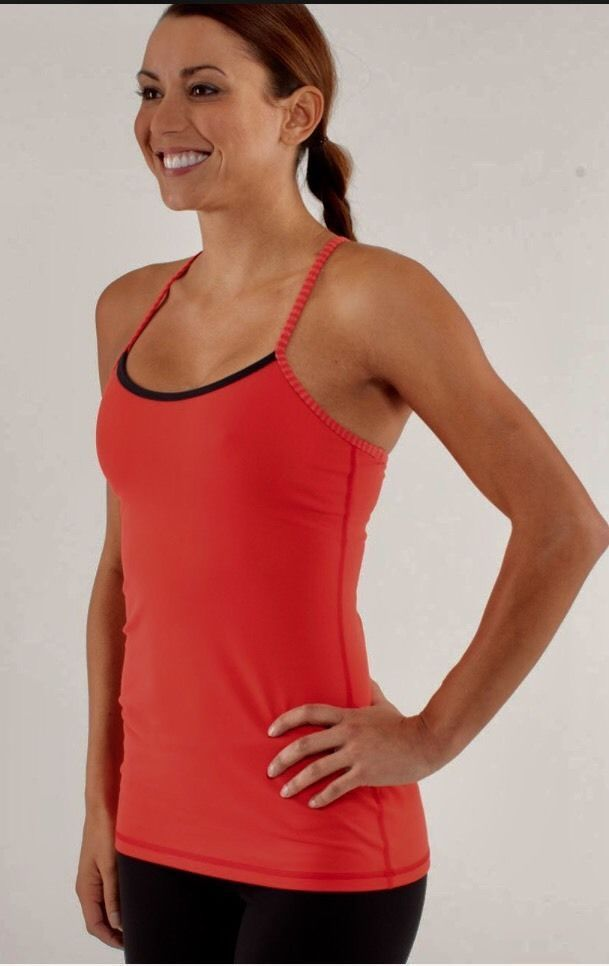 846145fb758c9d NWT Lululemon Power Y Tank Love Red   Slope Stripe Love Red Heathered Fiery  SZ 4  Lululemon  ShirtsTops