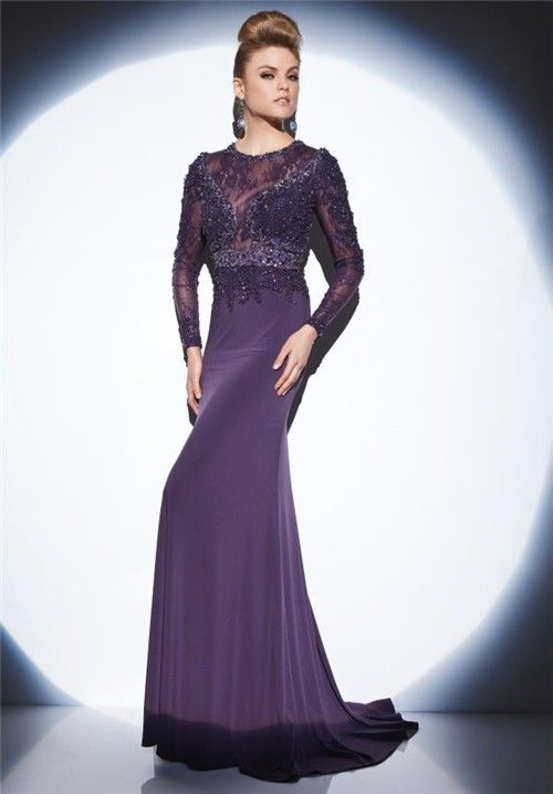 Fitted Sheer Illusion Neckline Long Sleeve Dark Purple Chiffon ...