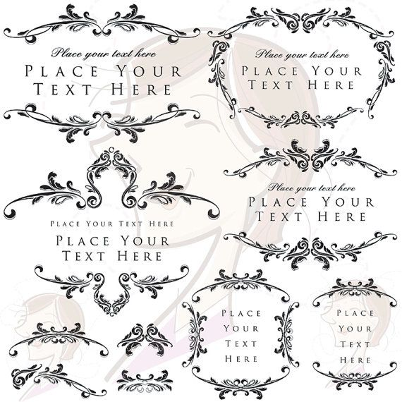 Digital Download Frames Flourish Foliage Border Rococo Frame Clip Art Vintage Wedding Decorations Design Diy Invitation Clip Art Digital Frame Clip Art Vintage