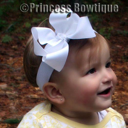 White Baby Bow headband