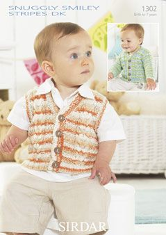 a8b8373dc Snuggly Smiley Stripes DK Knit Cardigan   Waistcoat Pattern  This ...
