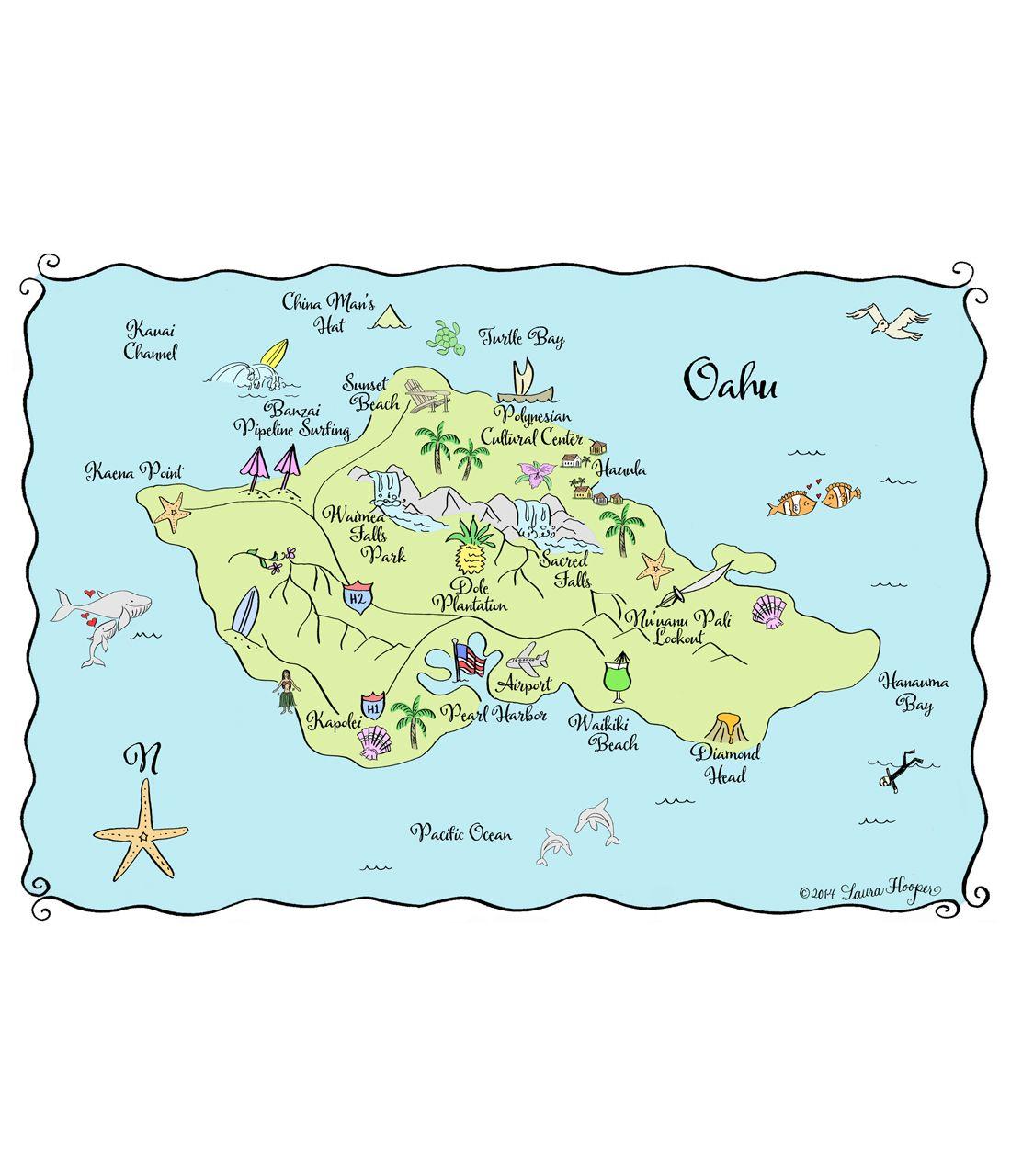 Oahu Map Tote