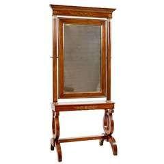 French Cheval Empire Mirror, circa 1820