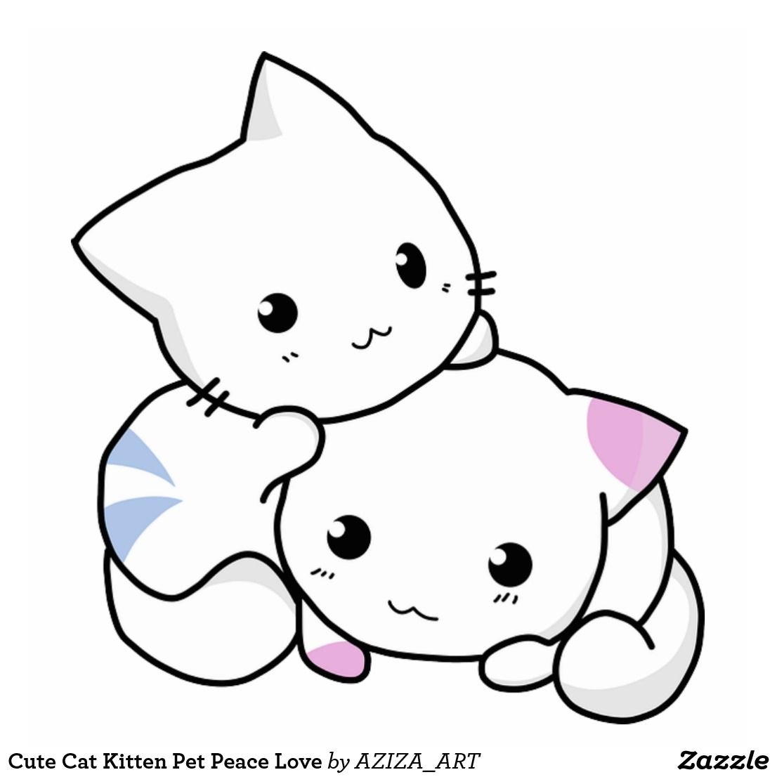 Cute Cat Kitten Pet Peace Love Cutout Zazzle Com In 2020 Cute Anime Cat Kitten Drawing Anime Kitten