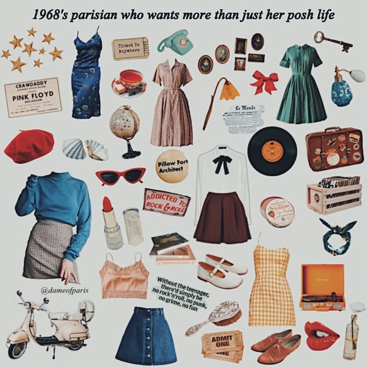 Moodboard 1968 Parisian Girl Retro Fashion Vintage French Minimalist Wardrobe Parisian