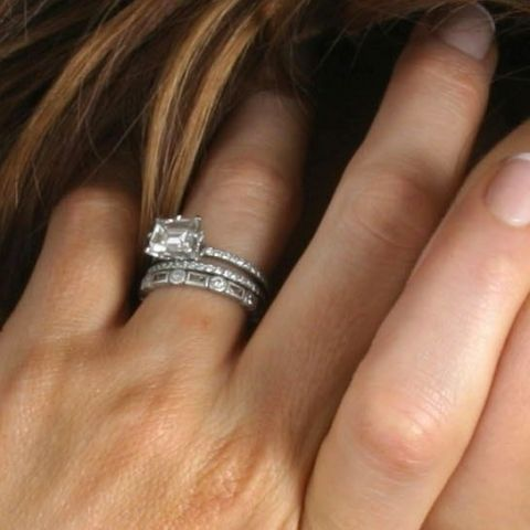what do you wear with your emilya halo modern engagement ringsemerald - How Do You Wear Your Wedding Rings