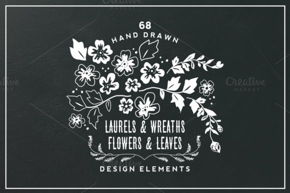 Hand Drawn Flowers & Leaves Elements by Kelly Jane Creative on Creative Market